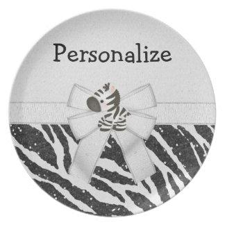Cute Zebra Bow Glitter Animal Print Plate