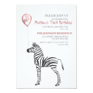 "Cute Zebra Boy's Third Birthday Party Invitation 5"" X 7"" Invitation Card"