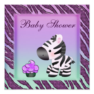 Cute Zebra & Cupcakes Purple Baby Shower Card