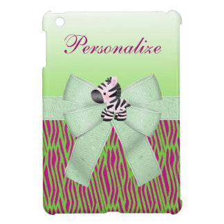 Cute Zebra Faux Green & Pink Texture Animal Print iPad Mini Cases