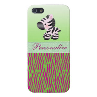 Cute Zebra Faux Green & Pink Texture Animal Print Covers For iPhone 5