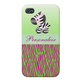 Cute Zebra Faux Green & Pink Texture Animal Print Covers For iPhone 4