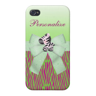Cute Zebra Faux Green & Pink Texture Animal Print iPhone 4/4S Covers