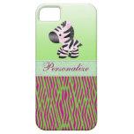 Cute Zebra Faux Green & Pink Texture Animal Print iPhone SE/5/5s Case
