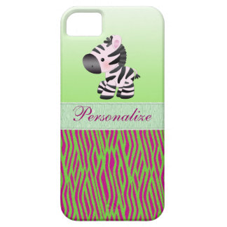 Cute Zebra Faux Green & Pink Texture Animal Print iPhone SE/5/5s Case