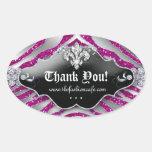 Cute Zebra Fleur de lis Glitter Hot Pink Oval Sticker