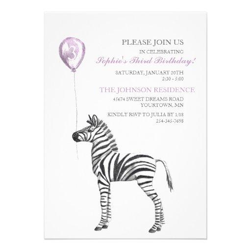 Cute Zebra Girl's Third Birthday Party Invitation