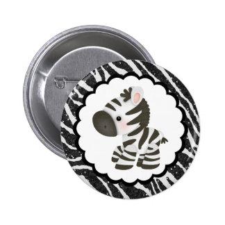 Cute Zebra & Glitter Animal Print 2 Inch Round Button