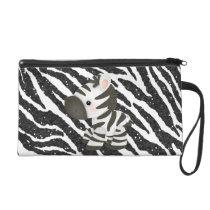 Cute Zebra & Glitter Animal Print Wristlet