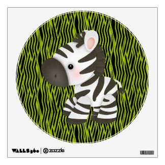 Cute Zebra & Green Animal Print Wall Decal