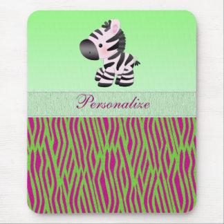 Cute Zebra Green Pink Animal Print Mousepad