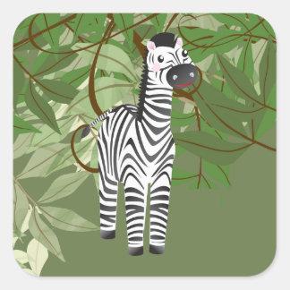 Cute Zebra Jungle  Animals Party Sticker