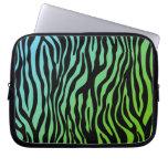 Cute Zebra laptop sleeve Black Blue Green