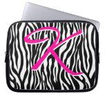 Cute Zebra laptop sleeve Monogram Black White k