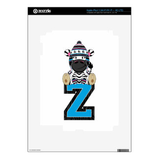 Cute Zebra Learning Letter Z Skin Decals For iPad 3