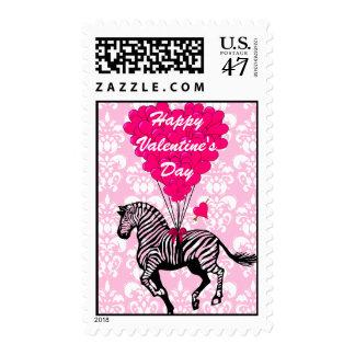 Cute zebra love heart Valentine's Stamp