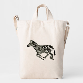 Cute Zebra Mother And Baby Illustration Duck Bag