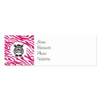 Cute Zebra on Pink Zebra Animal Print Zoo Gifts Double-Sided Mini Business Cards (Pack Of 20)