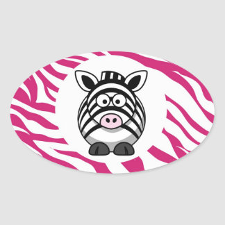 Cute Zebra on Pink Zebra Animal Print Zoo Gifts Oval Sticker