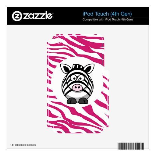 Cute Zebra on Pink Zebra Animal Print Zoo Gifts Skin For iPod Touch 4G