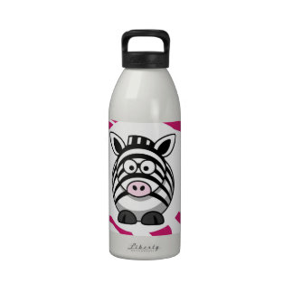 Cute Zebra on Pink Zebra Animal Print Zoo Gifts Water Bottles