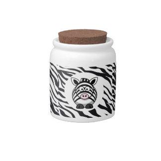 Cute Zebra on Zebra Print Zoo Animals Patterns Candy Dish