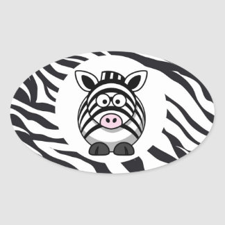 Cute Zebra on Zebra Print Zoo Animals Patterns Oval Sticker