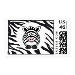 Cute Zebra on Zebra Print Zoo Animals Patterns Postage