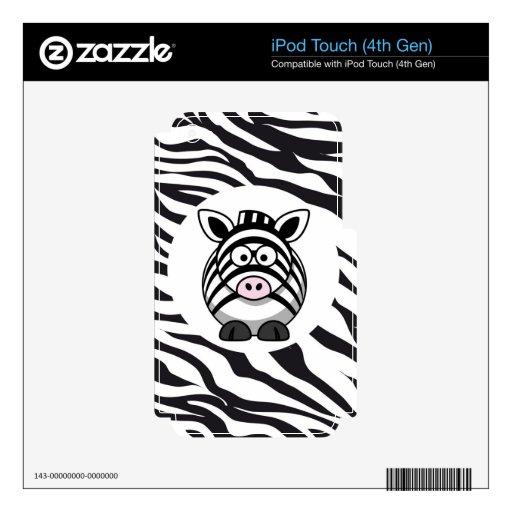 Cute Zebra on Zebra Print Zoo Animals Patterns Skin For iPod Touch 4G