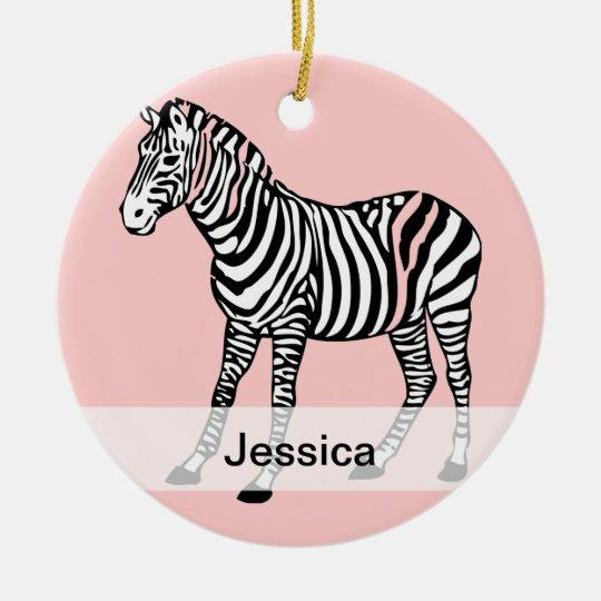Cute Zebra Personalized Name Ceramic Ornament