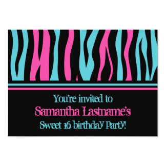 Cute zebra personalized sweet 16 birthday party 5x7 paper invitation card