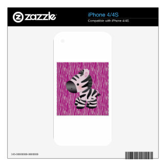 cute_zebra_pink_animal_print_ decals for the iPhone 4S