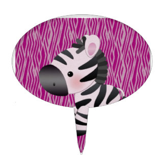 cute_zebra_pink_animal_print_ decoraciones de tartas
