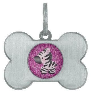 cute_zebra_pink_animal_print_ pet tag