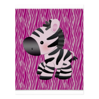 cute_zebra_pink_animal_print_ postcard