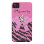Cute Zebra & Pink & Black Glitter Animal Print iPhone 4 Case