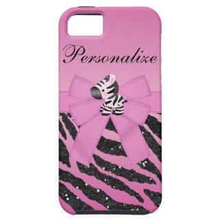 Cute Zebra & Pink & Black Glitter Animal Print iPhone SE/5/5s Case