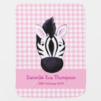 Cute zebra pink custom name birth date blanket