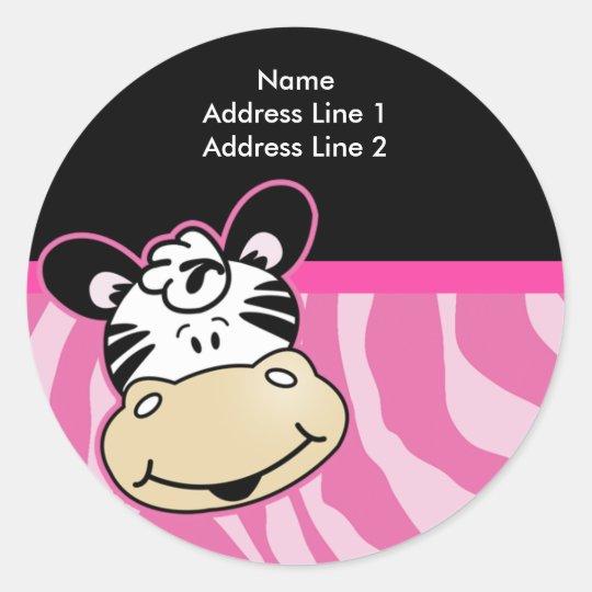 Cute Zebra Pink Stripe Address Label envelope seal