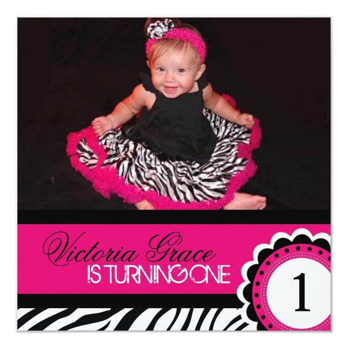 Cute Zebra Print Birthday Party Invitation