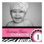 """Cute Zebra Print Birthday Party Invitation 5.25"""" Square Invitation Card"""