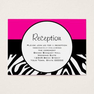 Cute Zebra Print Custom Hot Pink Reception Info Business Card