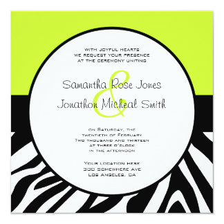 Cute Zebra Print Custom Lime Green Custom Wedding Card