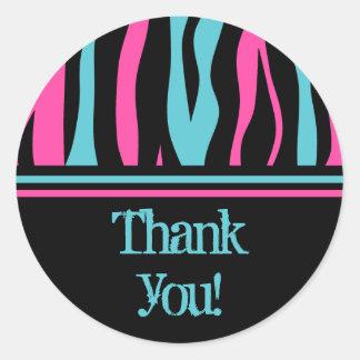 Cute zebra print punk in hot pink, black, and blue classic round sticker