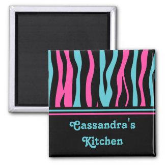 Cute zebra print punk in hot pink, black, and blue magnet