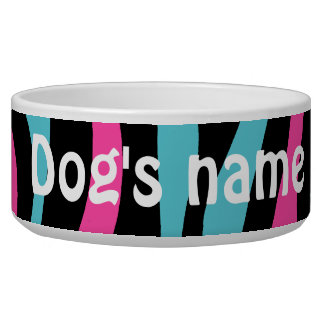 Cute zebra print punk in hot pink, black, and blue pet water bowls