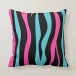 Cute zebra print punk in hot pink, black, and blue throw pillows