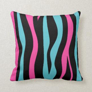 Cute zebra print punk in hot pink, black, and blue throw pillows