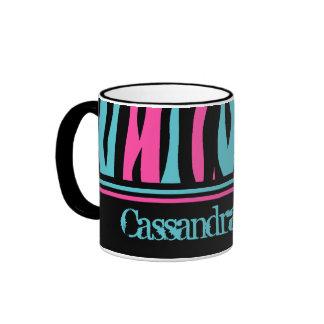 Cute zebra print punk in hot pink, black, and blue ringer mug