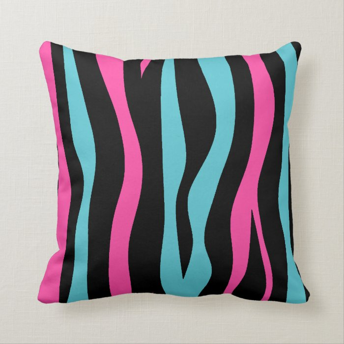 Hot Pink And Zebra Throw Pillows : Cute zebra print punk in hot pink, black, and blue throw pillow Zazzle